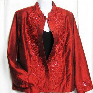 Chicos Sz 2 Evening Jacket RED Stunning